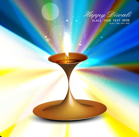Happy diwali colorful rainbow rays diya stylish wave vector Vector