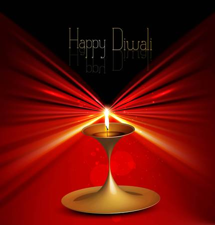 Happy diwali colorful beautiful illuminating diya stylish rays wave vector Vector