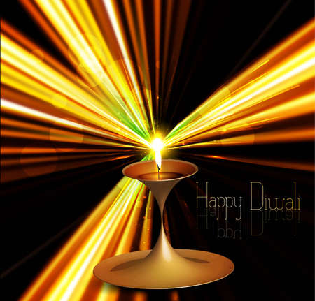 Happy diwali colorful illuminating diya stylish rays wave background Vector