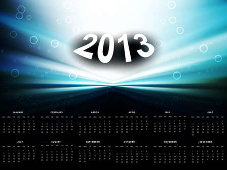 2013 calendar bright colorful blue wave background Stock Vector - 18288211