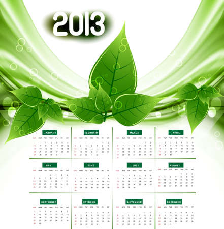 2013 calendar eco natural green lives stylish wave Vector