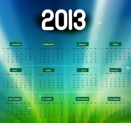 2013 calendar bright colorful shiny wave background Stock Vector - 18288183