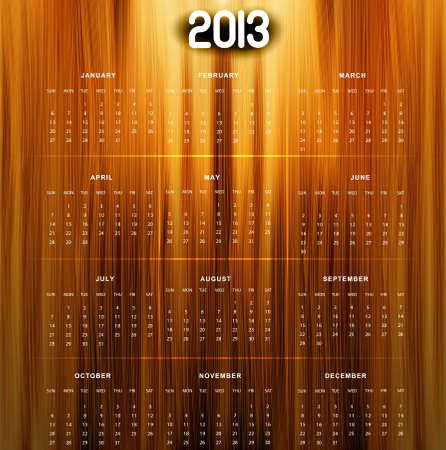 2013 calendar bright colorful shiny wood texture Stock Vector - 18288033