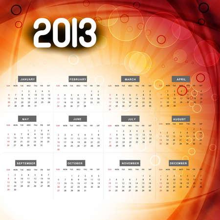 2013 calendar colorful wave design illustration Stock Vector - 18288228