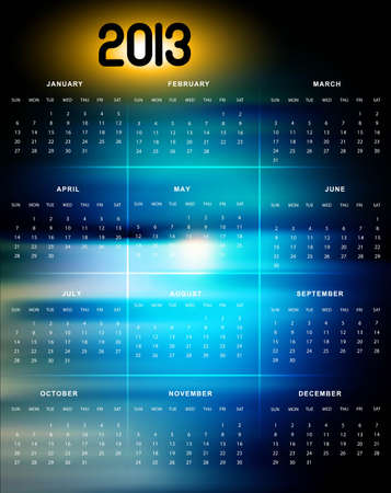 2013 calendar bright colorful blue background Stock Vector - 18288187