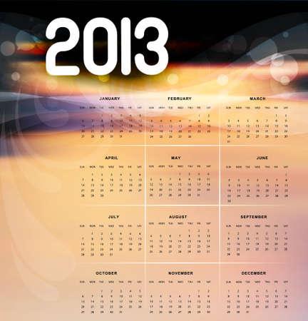 2013 calendar bright colorful design illustration Stock Vector - 18288226