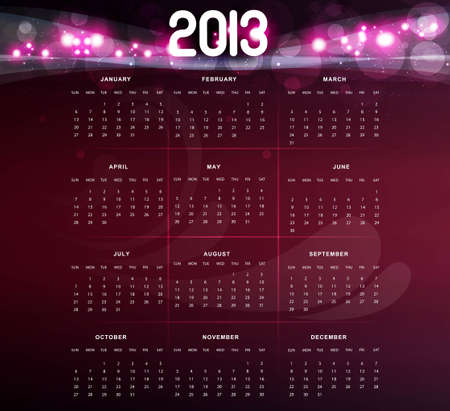 2013 calendar bright pink colorful design  Stock Vector - 18288027