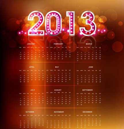 2013 calendar bright new year colorful design  Vector