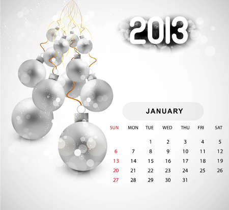 2013 calendar christmas  ball new year whit background Stock Vector - 18288277