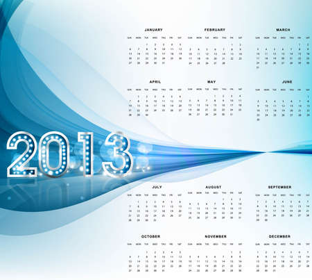 2013 calendar bright blue wave new year colorful background Vector