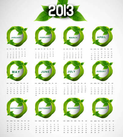 2013 calendar eco natural green lives circle stylish design Vector