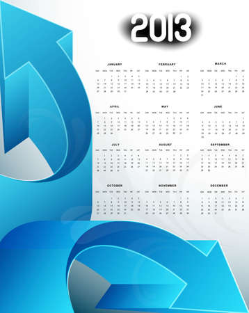2013 calendar blue arrow new year colorful design Stock Vector - 18288250