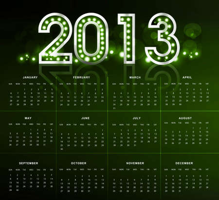 2013 calendar bright green new year colorful Stock Vector - 18288205