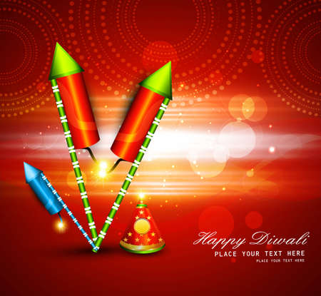 diwali crackers hindu festival bright colorful design Vector