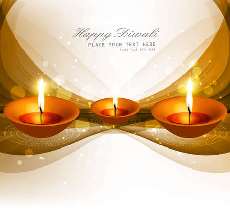 Beautiful happy diwali diya bright colorful hindu festival wave  Vector
