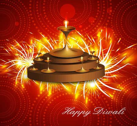 Happy diwali diya celebration  hindu festival shiny colorful  background Stock Vector - 18307169