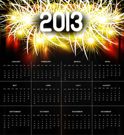 2013 calendar black bright celebration colorful design Stock Vector - 18307168
