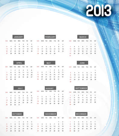 2013 calendar blue wave colorful background Stock Vector - 18307146