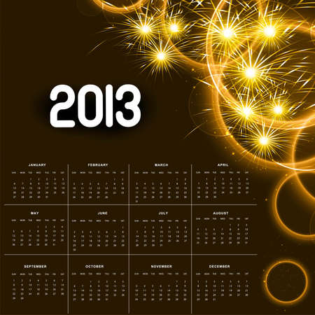 2013 calendar golden bright celebration colorful Stock Vector - 18307149
