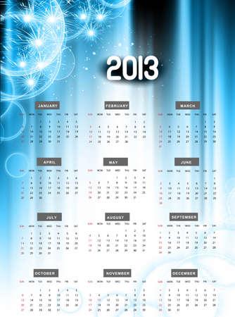 2013 calendar blue shiny celebration colorful   illustration Stock Vector - 18307153