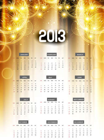 2013 calendar golden bright celebration colorful design Stock Vector - 18307160