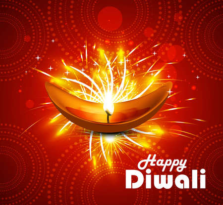 Happy diwali diya celebration colorful vector background Vector
