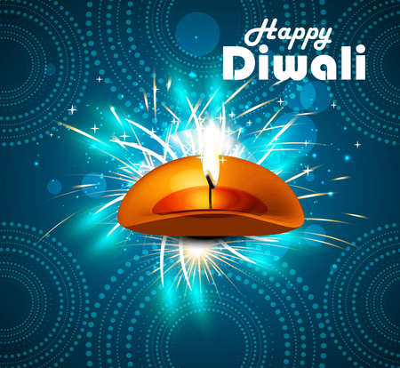 Happy diwali diya celebration blue colorful vector design Vector