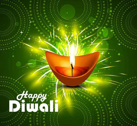 Happy diwali diya celebration bright green colorful vector  Vector