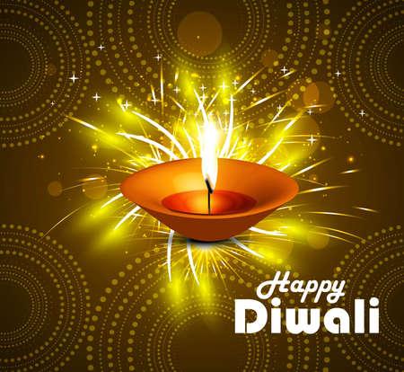 Celebration Happy diwali diya vector colorful background Vector