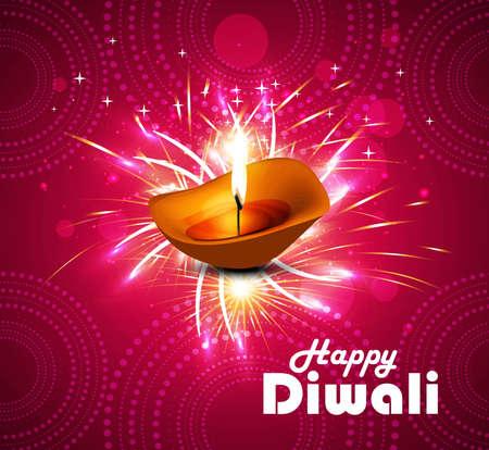 Celebration Happy diwali diya festival pink colorful vector illustration