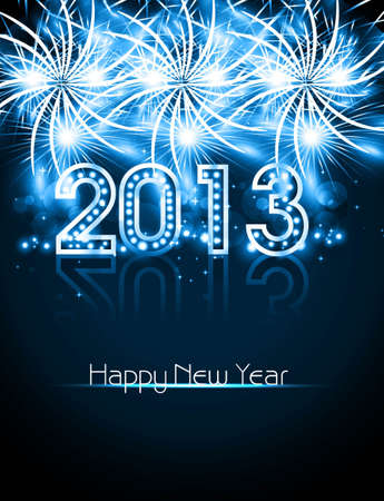 Happy new year 2013 blue colorful celebration vector design Stock Vector - 18352593