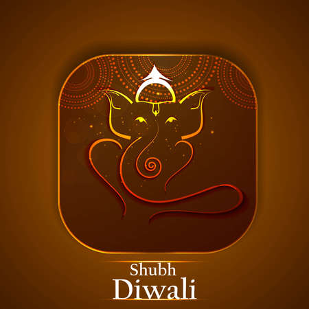 Artistic Beautiful colorful golden Hindu Lord Ganesha vector illustration  Vector
