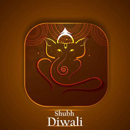 Artistic Beautiful colorful golden Hindu Lord Ganesha vector illustration  Vector