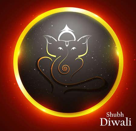예술의 아름 다운 화려한 황금 원 힌두교 님 코끼리 벡터 일러스트