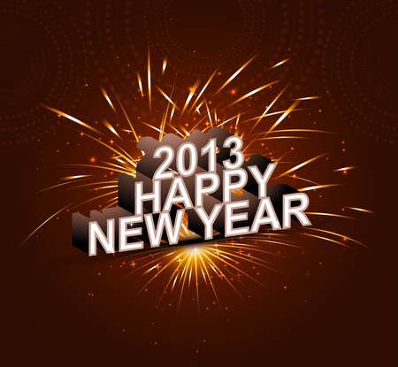 2013 Happy new year celebrate colorful background Illustration