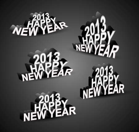 yearly: 2013 Happy New Year font set vector Illustration