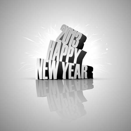 Happy new year 2013 reflection colorful vector background