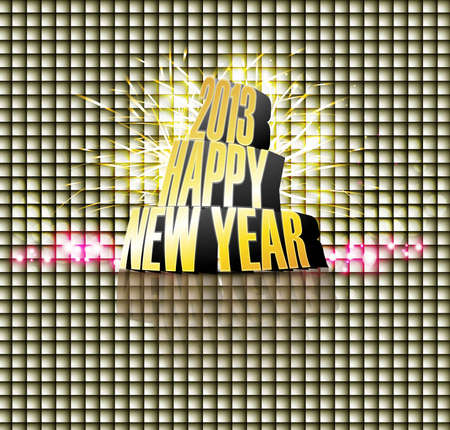 2013 Happy new year reflection bright texture colorful vector