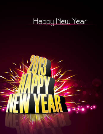 2013 Happy new year reflection bright colorful vector Stock Vector - 18389086