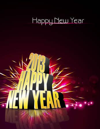 twenty thirteen: 2013 Happy new year reflection bright colorful vector  Illustration