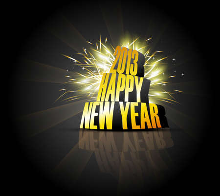 2013 Happy new year reflection golden celebration colorful background Vector