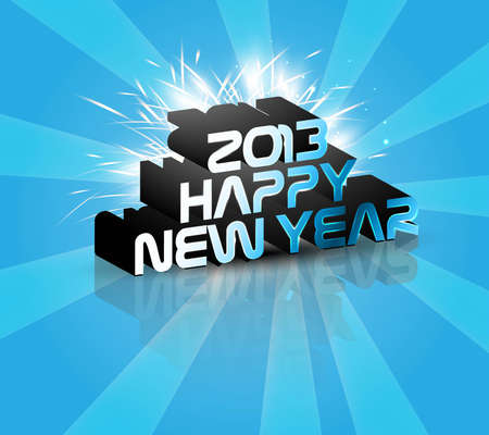 2013 Happy new year reflection blue celebration colorful background vector  Vector