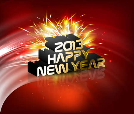 2013 Happy new year reflection celebration colorful background vector wave Stock Vector - 18389084