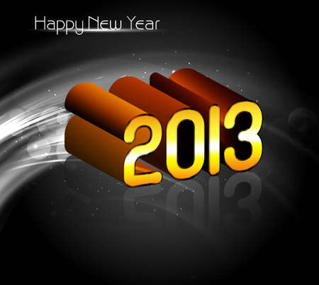 2013 Happy new year reflection golden celebration vector background Vector