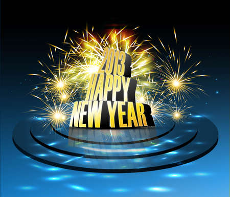 2013 Happy new year reflection celebration colorful background vector  Illustration