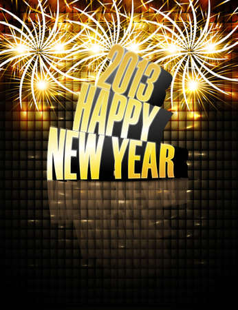 2013 Happy new year reflection celebration colorful background  Vector