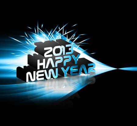 2013 Happy new year blue wave colorful celebration vector  Vector