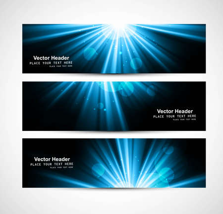abstract bright blue rays colorful header set vector Stock Vector - 18404030