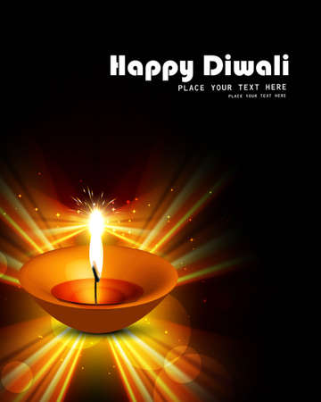 Happy diwali diya bright shiny colorful hindu festival background Vector