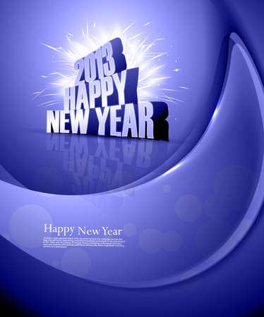 2013 Happy new year shiny colorful blue wave celebration background Vector